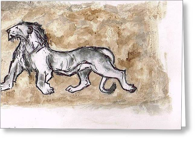Installation Art Paintings Greeting Cards - Asiatic lion Greeting Card by Sumit Banerjee