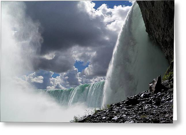 Roiling Greeting Cards - Aside Horseshoe Falls Greeting Card by Katie Beougher