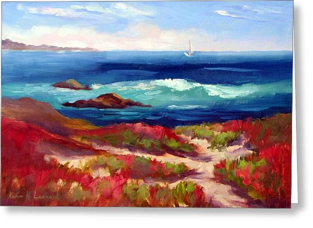 Big Sur Beach Paintings Greeting Cards - Asilomar Beach Spring Morning Greeting Card by Karin  Leonard