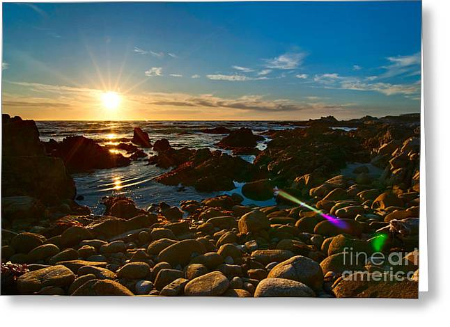 Solar Flare Greeting Cards - Asilomar Sunset - Monterey Bay Greeting Card by Jamie Pham