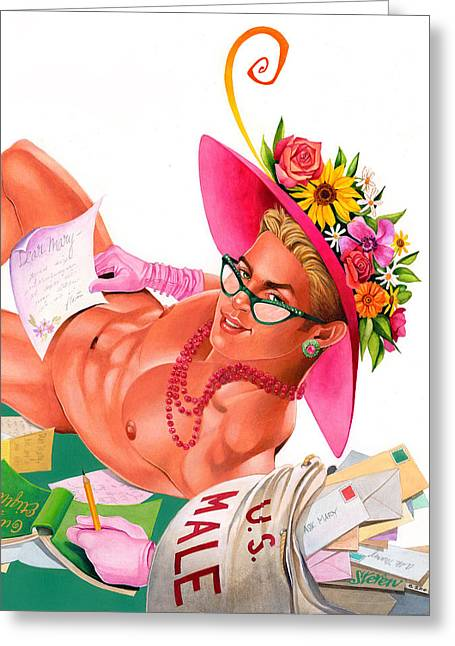 Homoerotic Mixed Media Greeting Cards - Ask Mary Greeting Card by Steven Stines