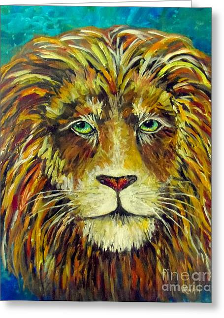 The Lion Witch Wardrobe Greeting Cards - Aslan King of Narnia Greeting Card by Lou Ann Bagnall