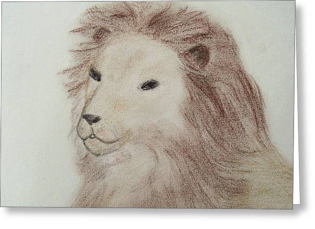Characters Pastels Greeting Cards - Aslan of Narnia Greeting Card by Christine Corretti