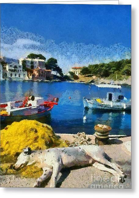 Sea Dog Framed Prints Greeting Cards - Asos village in Kefallonia island Greeting Card by George Atsametakis