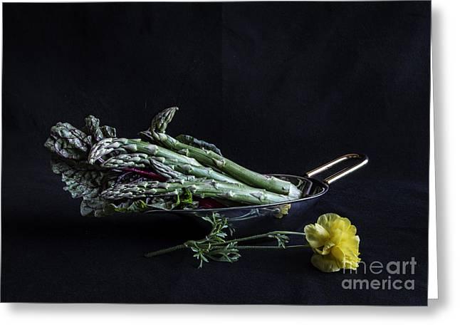 Kale Greeting Cards - Asparagus Greeting Card by Elena Nosyreva