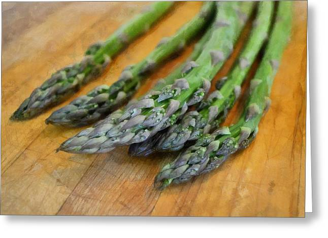 Ingredients Digital Art Greeting Cards - Asparagus Greeting Card by Michelle Calkins