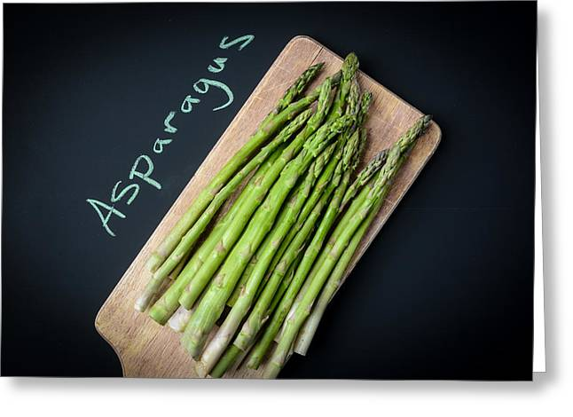 Vegeterian Greeting Cards - Asparagus Written on a Chalkboard Greeting Card by Brandon Bourdages