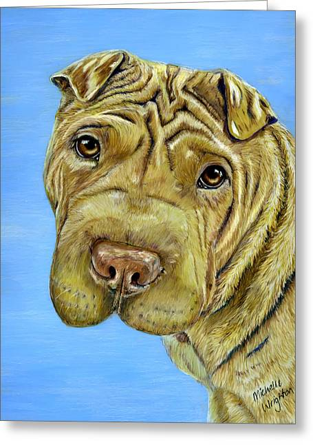 Dog Art Greeting Cards - Beautiful Shar-Pei Dog Portrait Greeting Card by Michelle Wrighton