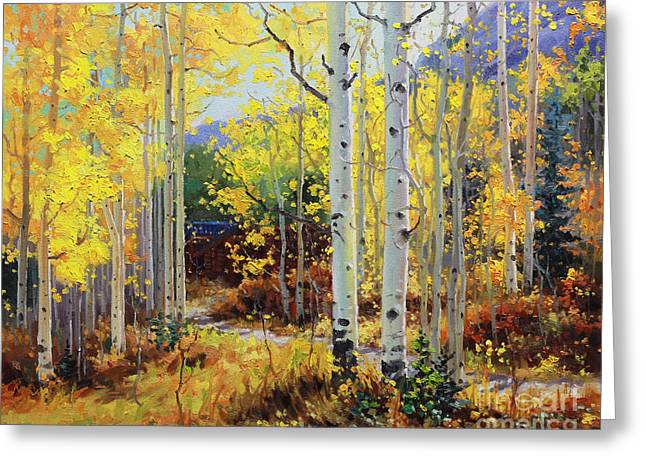 Contemporary Oil Greeting Cards - Aspen Cabin Greeting Card by Gary Kim