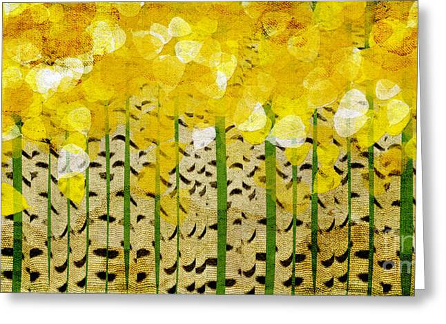Birch Tree Mixed Media Greeting Cards - Aspen Colorado Abstract Panorama Greeting Card by Andee Design