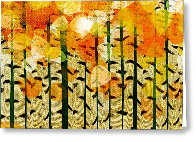 Birch Tree Digital Greeting Cards - Aspen Colorado Abstract Square 4 Greeting Card by Andee Design