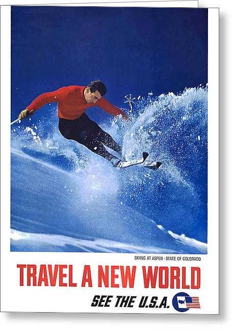 Skiing Poster Greeting Cards - Aspen Colorado Skiing Greeting Card by David Wagner