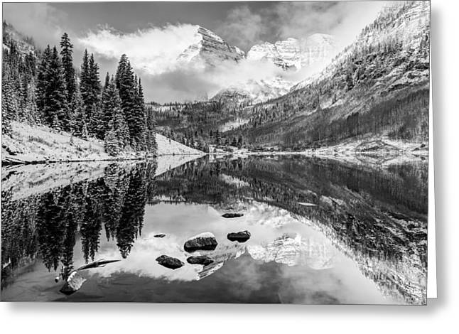 Ski Art Greeting Cards - Aspen Colorados Maroon Bells in Black and White Greeting Card by Gregory Ballos