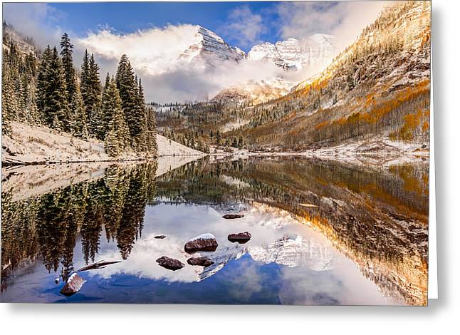 Ski Art Greeting Cards - Aspen Colorados Maroon Bells with Rocks Greeting Card by Gregory Ballos