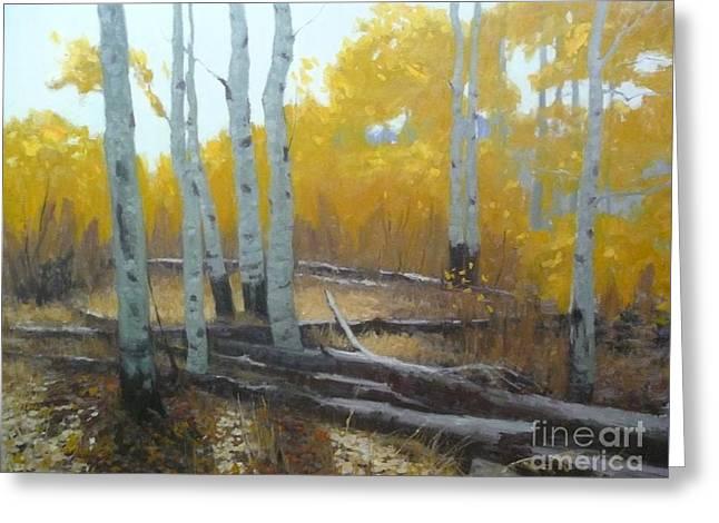 Impressionist Greeting Cards - Aspen Fall shadows Greeting Card by Doyle Shaw