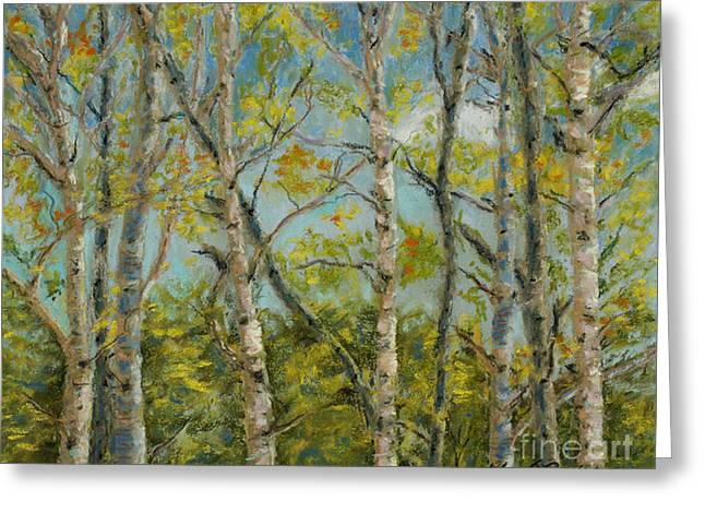 Bright Pastels Greeting Cards - Aspen Glow Greeting Card by Mary Benke
