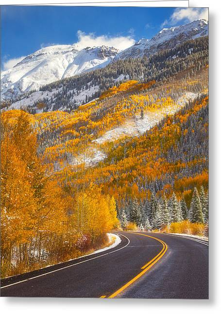 Fall Scene Greeting Cards - Aspen Highway Greeting Card by Darren  White