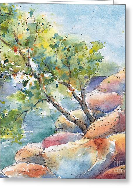 Trembling Greeting Cards - Aspen On The Rocks Greeting Card by Pat Katz