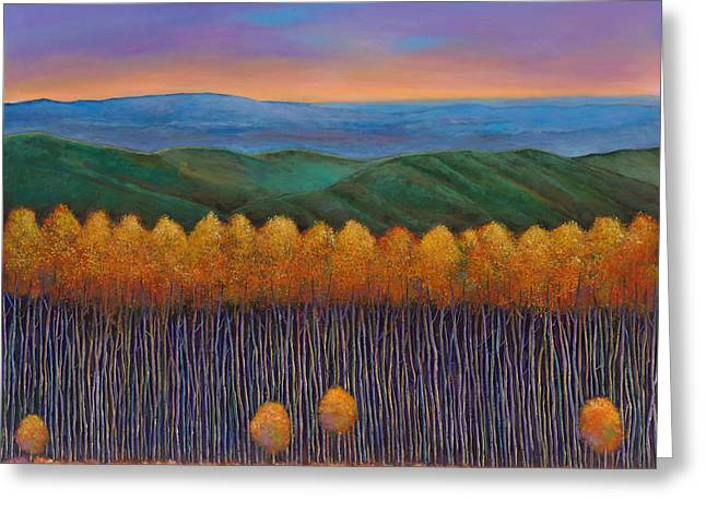 Autumn Landscape Paintings Greeting Cards - Aspen Perspective Greeting Card by Johnathan Harris