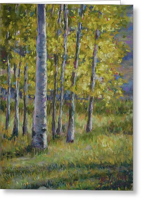 Fall Colors Pastels Greeting Cards - Aspen Shadows Greeting Card by Billie Colson