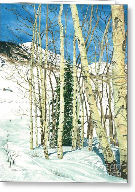 Chairlift Greeting Cards - Aspen Shelter Greeting Card by Barbara Jewell