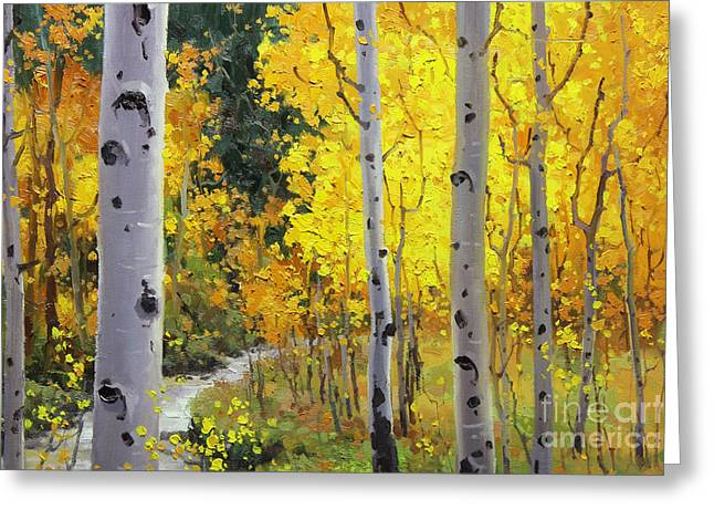 Aspen Grove Greeting Cards - Aspen Stream Greeting Card by Gary Kim