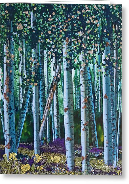 Forest Floor Mixed Media Greeting Cards - Aspen Summer Greeting Card by Stanza Widen