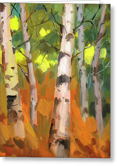 Color Change Greeting Cards - Aspen Trees Greeting Card by Diane McClary