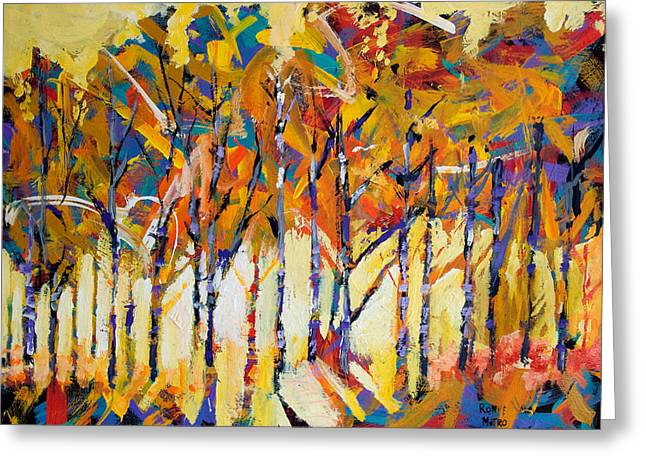 Tree Abstract Greeting Cards - Aspen Trees Greeting Card by Ron and Metro