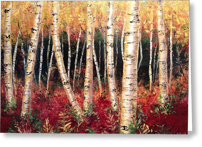 Woodland Scenes Mixed Media Greeting Cards - Aspen woodlands Greeting Card by Amy Wyatt