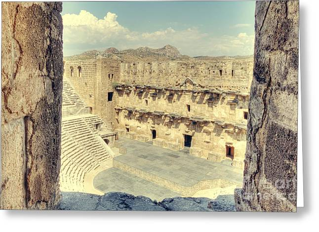 Soft Light Greeting Cards - Aspendos Theater Greeting Card by Emily Enz