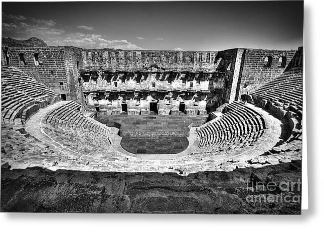 Ancient Ruins Greeting Cards - Aspendos Theather Greeting Card by Emily Enz