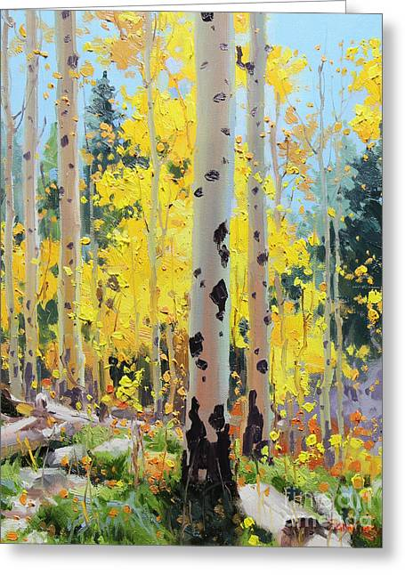 Aspen Grove Greeting Cards - Aspens in Golden Light Greeting Card by Gary Kim