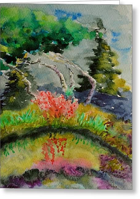 Algae Paintings Greeting Cards - Aspens On Acid Greeting Card by Beverley Harper Tinsley