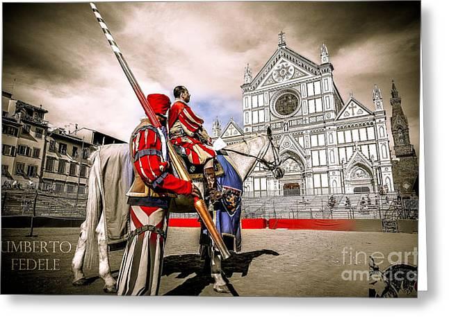 Fiorenza Greeting Cards - aspettando Santa Croce Greeting Card by Umberto Fedele