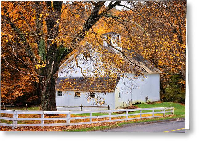 """autumn Foliage New England"" Greeting Cards - Aspetuck Barn - Autumn in Connecticut Greeting Card by Thomas Schoeller"