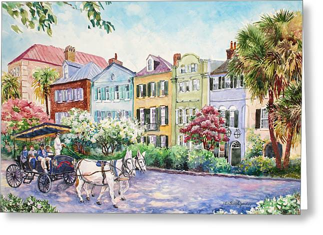 Cobblestone Greeting Cards - Assault and Battery on Rainbow Row Greeting Card by Alice Grimsley