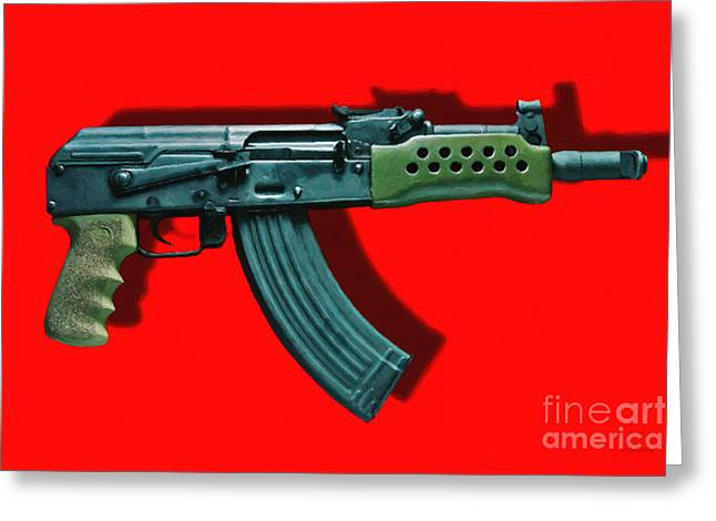 Ak Greeting Cards - Assault Rifle Pop Art - 20130120 - v1 Greeting Card by Wingsdomain Art and Photography
