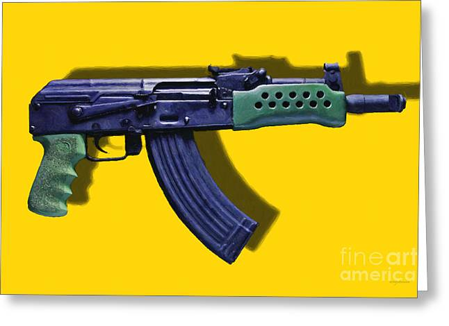 Ak Greeting Cards - Assault Rifle Pop Art - 20130120 - v2 Greeting Card by Wingsdomain Art and Photography