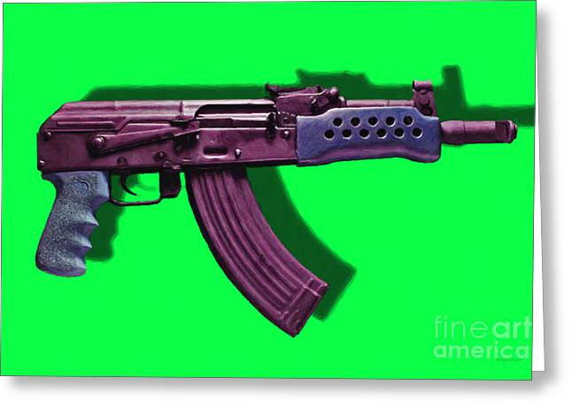 Ak Greeting Cards - Assault Rifle Pop Art - 20130120 - v3 Greeting Card by Wingsdomain Art and Photography