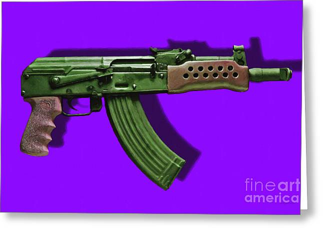 Assault Rifle Pop Art - 20130120 - v4 Greeting Card by Wingsdomain Art and Photography