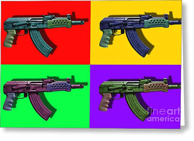Assault Rifle Pop Art Four - 20130120 Greeting Card by Wingsdomain Art and Photography