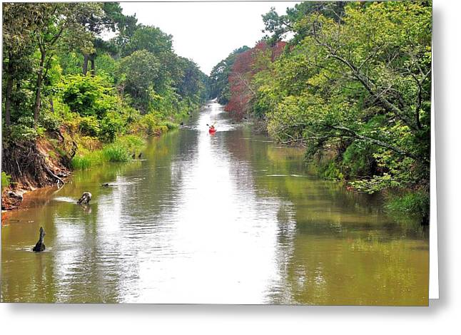 Canoe Greeting Cards - Assawoman Canal - Delaware Greeting Card by Kim Bemis