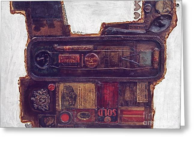 Car Part Paintings Greeting Cards - Assemblage Painting 19 MG Greeting Card by Robert Birkenes