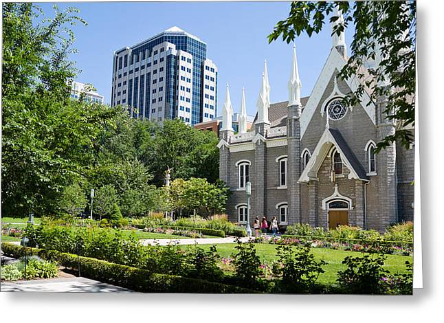 Salt Lake Temple Greeting Cards - Assembly Hall In A City, Salt Lake Greeting Card by Panoramic Images