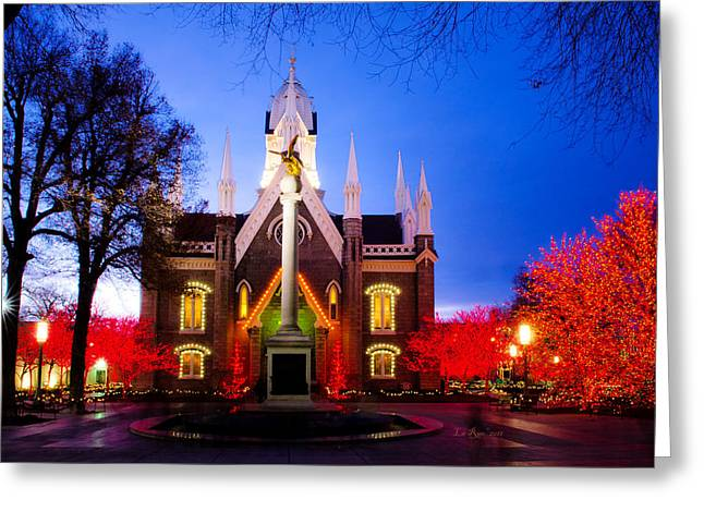Temple Square Greeting Cards - Assembly Hall SLC Temple Greeting Card by La Rae  Roberts