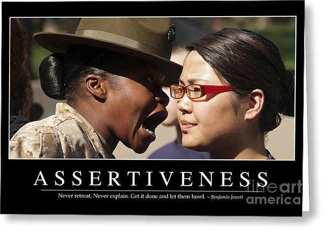 Recruit Greeting Cards - Assertiveness Inspirational Quote Greeting Card by Stocktrek Images