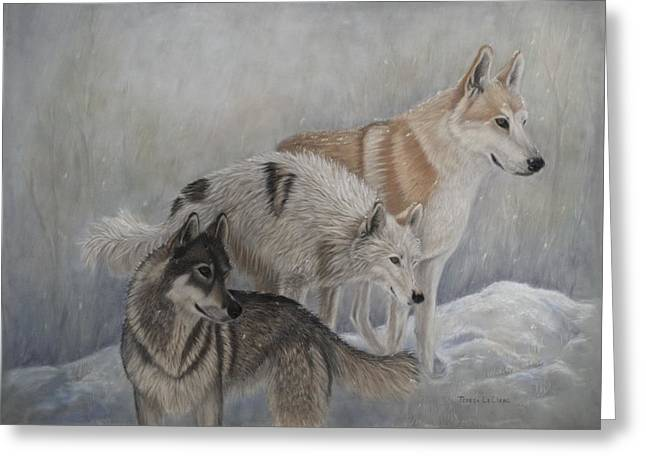 Dog In Snow Pastels Greeting Cards - Assessing the Danger Greeting Card by Teresa LeClerc