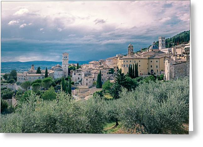Italian Landscapes Greeting Cards - Assisi  Greeting Card by A Rey
