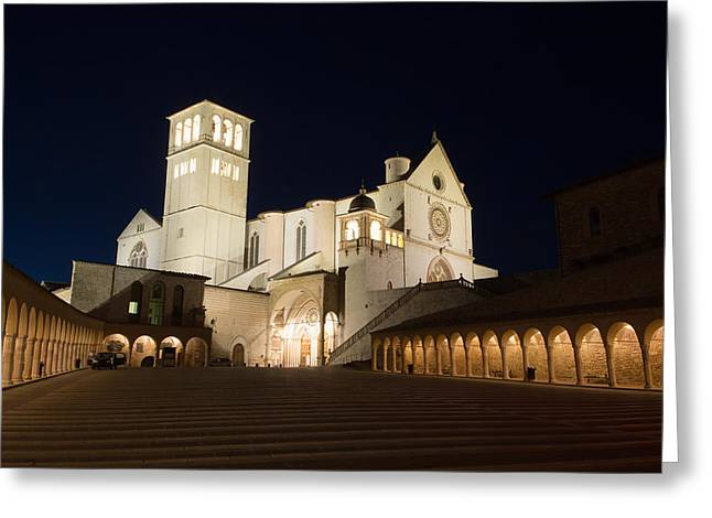Medieval Temple Greeting Cards - Assisi at night Greeting Card by Jaroslav Frank